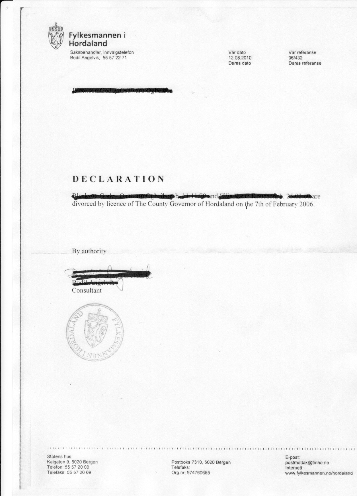 Divorce Doc From Norway British Expats