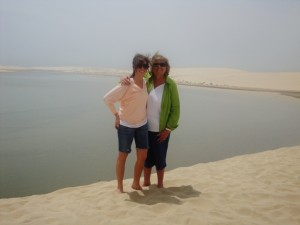 Donna Morgan Fazekas dune bashing with daughter Hailey in Doha, Qatar