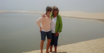 Donna Morgan Fazekas dune bashing with daughter Hailey in Doha, Qatar